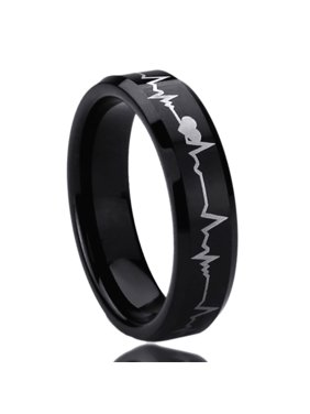 74dee8f156 Product Image Men Women 6MM Titanium Comfort Fit Wedding Band Ring Laser Engraved  Forever Love Heartbeat Black Ring