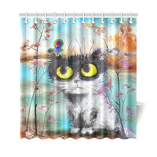 GCKG Funny Cat Floral Flower Butterfly Shower Curtain Cute Kitten Autumn Tree Lake Polyester Fabric Bathroom Sets With Hooks 66x72 Inches