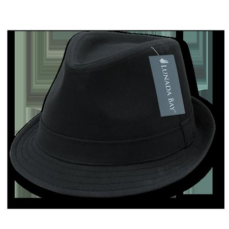 NEW DECKY BASIC POLY WOVEN FEDORA HIPSTER MIAMI HAT CAP HATS For Men Women Black/Black