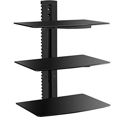 WALI Floating Wall Mounted Shelf with Triple Strengthened Tempered Glasses for DVD Players/Cable Boxes/Games Consoles/TV Accessories, Multiple Combination and Function, 3 Shelf, Black WALI 1+2 multiple combination Black Floating Shelf with Triple Strengthened Tempered Glass for DVD Players/Cable Boxes/Games Consoles/TV Accessories. The sleek 5 mm black tempered glass shelf can hold your DVD player, gaming consoles, or cable box weighing up to 17.6 lbs. The slim wall plate protrudes 19 mm from the wall allowing you to discreetly organize and hide your messy cables. WALI DVD Player Wall Mount is perfect for any home theaters. Free up floor space and organize your entertainment center in your living room, family room, media room, den or office. Adjustable shelf height ensures that your unit is mounted at the perfect height. The WALI DVD Player Wall Mount is made with an all-black coating for a sleek look. The black tempered glass gives an added touch to your home theater system while providing security and stability when mounting your devices. The ultra-slim design makes a perfect pair with your mounted flat screen TV. This shelf can be mounted to wood, brick or concrete. Complete hardware kit and instructions are included.