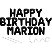 Marion, Happy Birthday Mylar Balloon Banner - Black - 16 inch Letters. Includes 2 Straws for Inflating, String for Hanging. Air Fill Only- Does Not Float w/Helium. Great Birthday Decoration