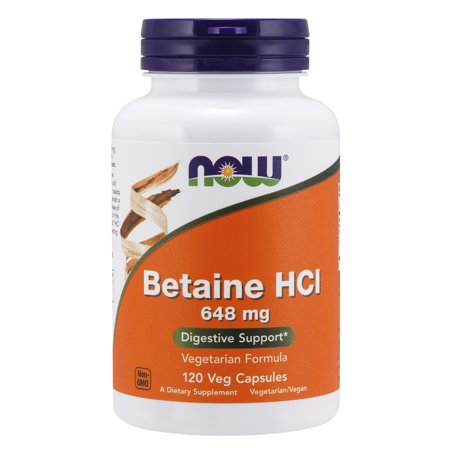NOW Supplements, Betaine HCl 648 mg, Vegetarian Formula, Digestive Support*, 120 Veg Capsules Succeed Digestive Supplement