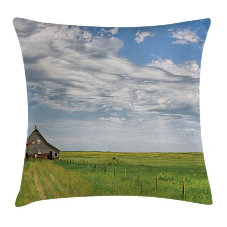 Rustic Home Decor Throw Pillow Cushion Cover  Canadian Timber House In Terrain Grassland With Clouds In Air Landscape  Decorative Square Accent Pillow Case  18 X 18 Inches  Green Blue  By Ambesonne