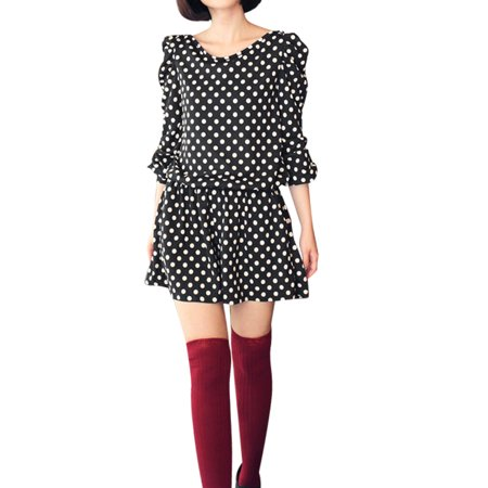 Allegra K Juniors Puff Sleeves Dots Print Fashional Jumpsuit Coffee Color (Size S / 3)