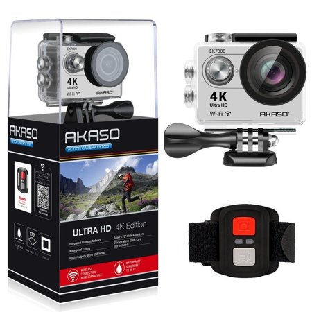 AKASO EK7000 4K Ultra HD 1080P Sports Action Camera WIFI Waterproof LCD Screen DV Camcorder 12MP 170 Degree Wide Angle(Silver) ()