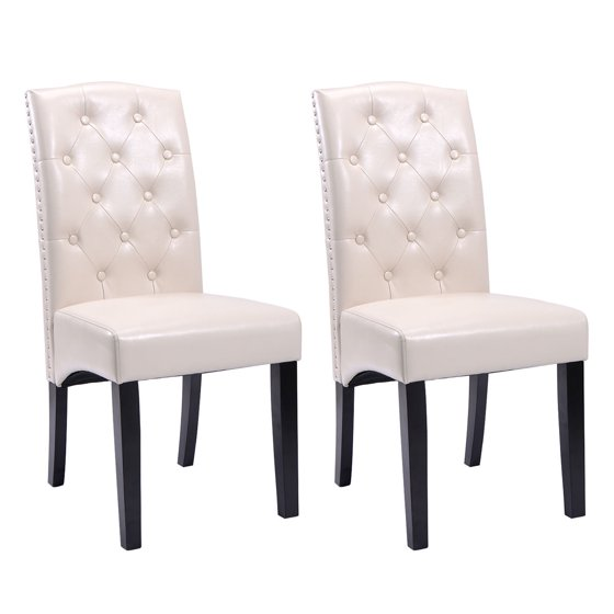 Porter Leather Chair Set Of 2: Costway Set Of 2 Dining Chairs PU Leather Tufted Armless