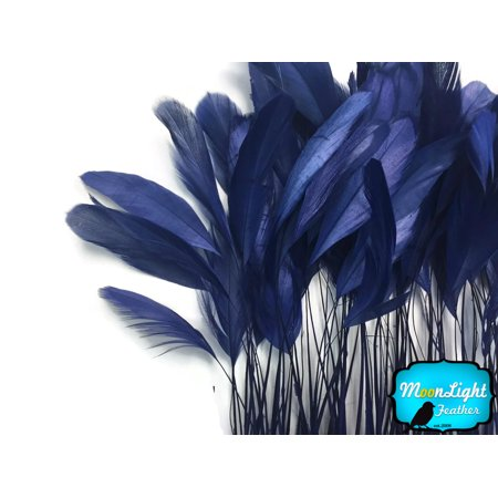 (1 Yard - Navy Stripped Coque Tail Feathers Wholesale (Bulk))