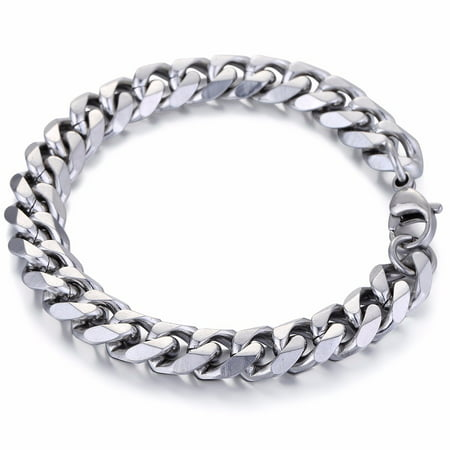 Hermah 11mm Mens Boys Curb Cuban Chain Bracelet Stainless Steel 8-11inch