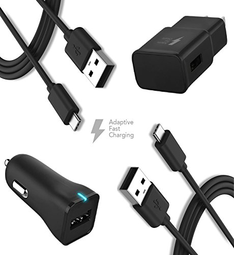 HTC Bolt Charger Type-C Cable Kit by TruWire {Wall Charger + Car Charger + 2 Cable} True Digital Adaptive Fast Charging uses dual voltages for up to 50% faster charging!