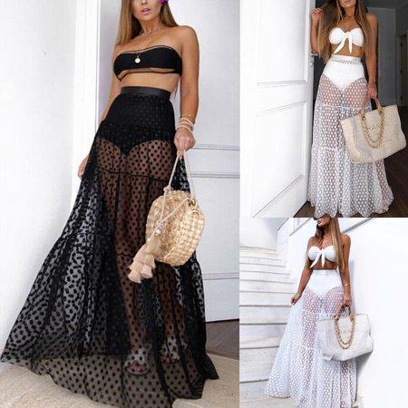 Multitrust Women Mesh Sheer Maxi Skirt Wrap Skirt Beach Tulle Transparent See Through