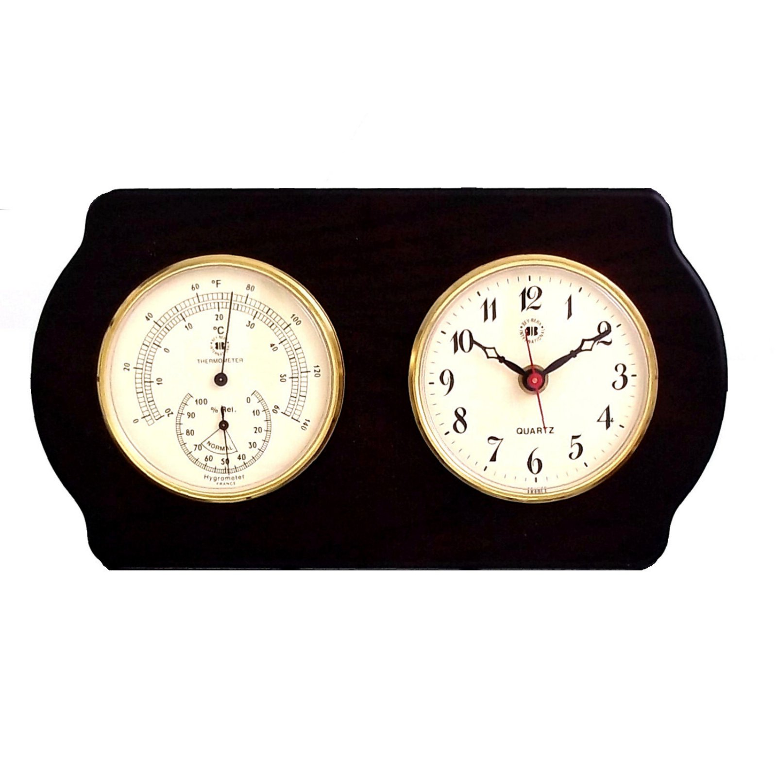 Bey-Berk International Brass Clock, Thermo./Hygro. on Ash Wood T.P.