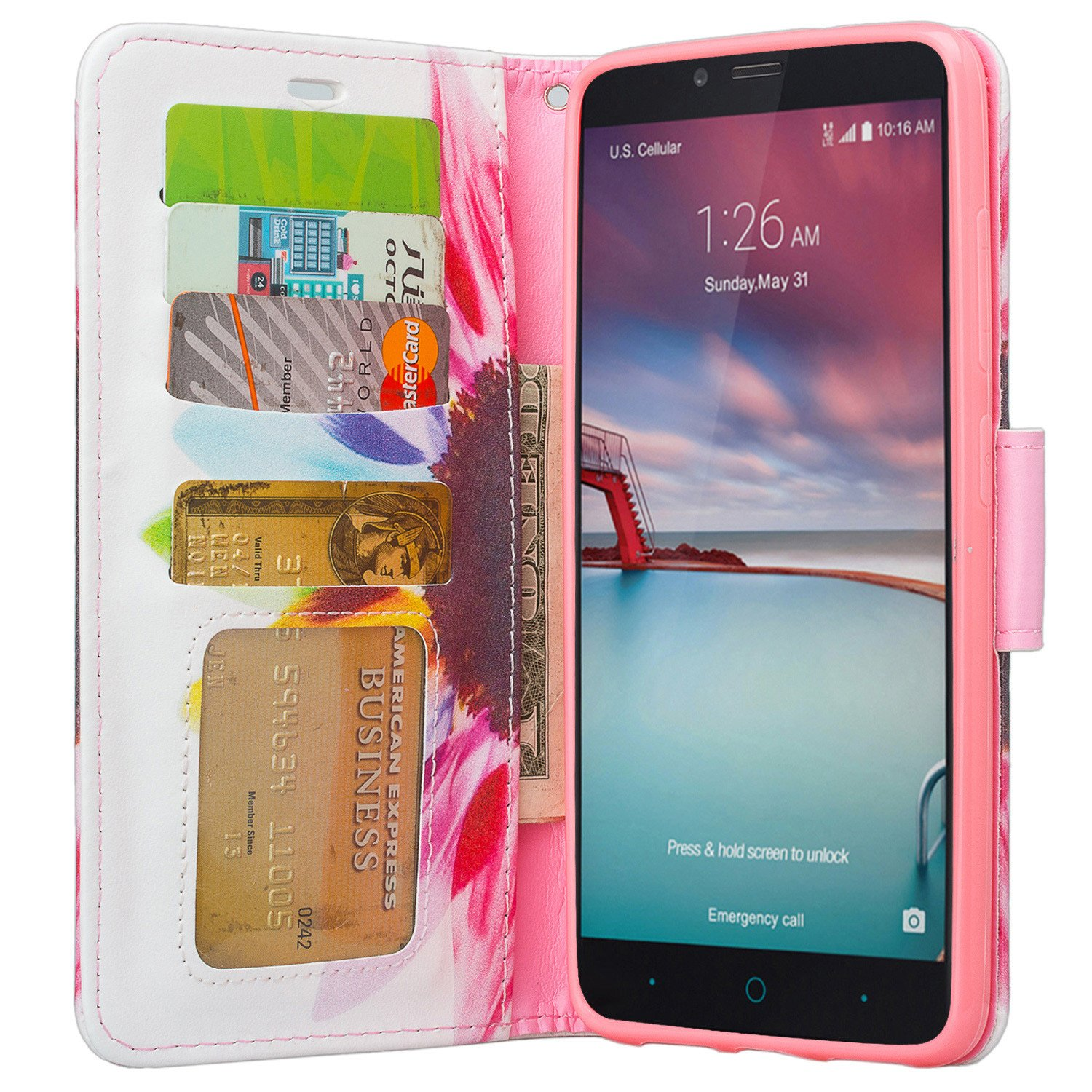 ZTE Blade X Max, ZTE Carry, ZTE ZMAX Pro Case | ZTE Grand X Max 2 Case | ZTE Imperial Max Case | Max Duo Pu Leather Magnetic Fold[Kickstand] Wallet Case with ID & Card Slots - Vivid Sunflower - image 2 de 3