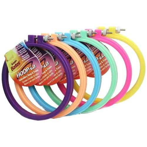 Hoop-La Plastic Embroidery Hoops 5 Inch-1 Each Of 6 Bright Colors
