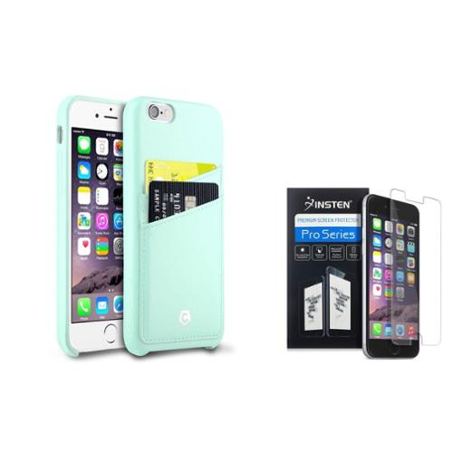 """Cobble Pro Mint Green Leather Card Back Case + Screen Protector For iPhone 6 6s 4.7"""""""