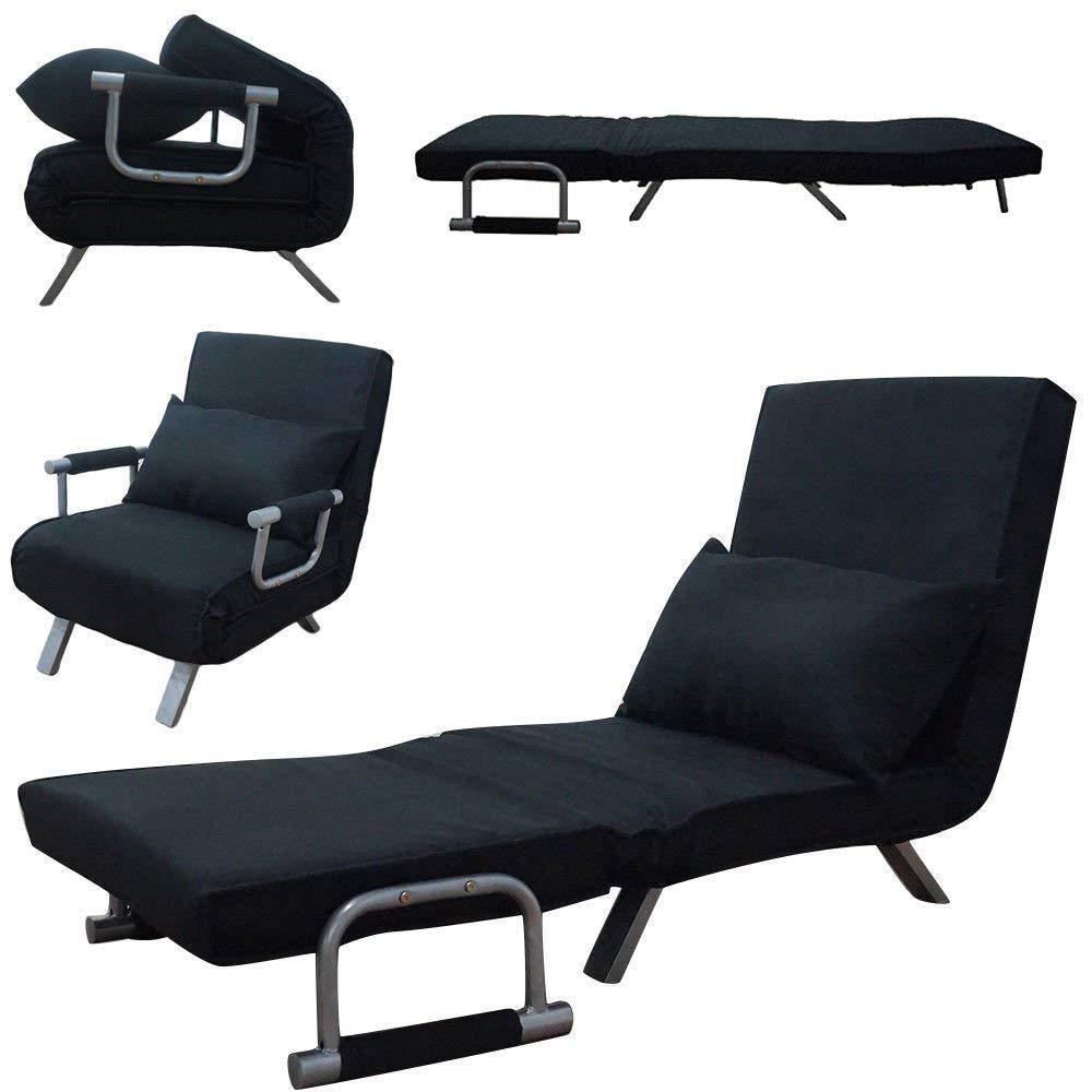 Black Floor Chair Adjustable Fold Lounge Sofa Bed Gaming Couch Meditation Single Computer Grid Structure