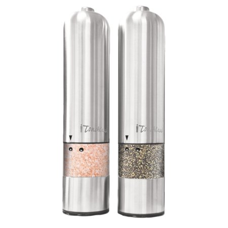 iTouchless Battery Powered Automatic Stainless Steel Pepper Mill and Salt (2 In 1 Salt & Pepper Grinder)