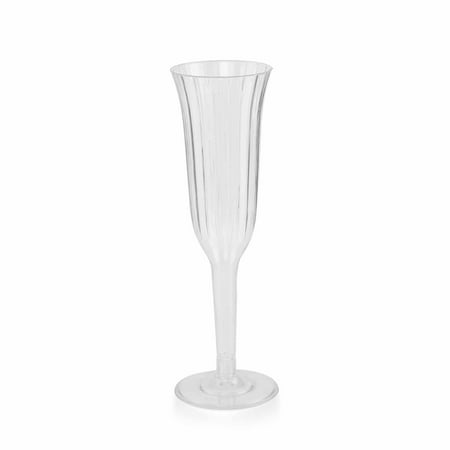 BalsaCircle 12 pcs 6 oz Plastic Champagne Flute Glasses - Wedding Party Disposable Tableware Catering - Engraved Wedding Flutes