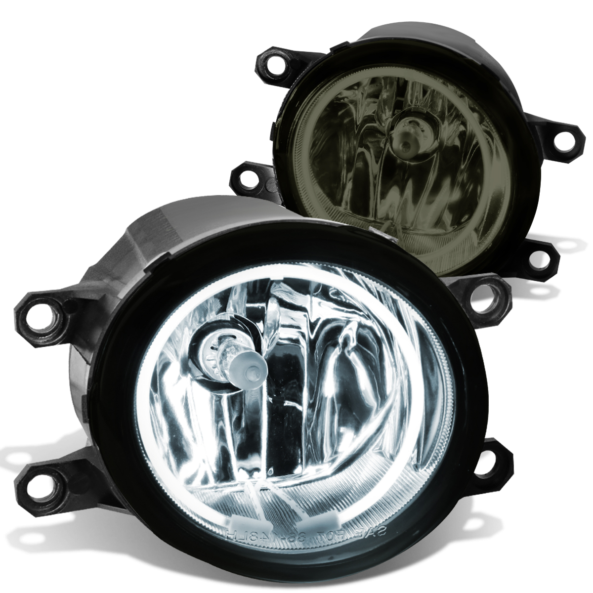 For 07-14 Toyota Camry/Corolla/Tacoma/Lexus RX350 IS250 Halo Ring Fog Light+CCFL Power Inverter Smoked Lens 08 09 10 11 12 13 Left+Right