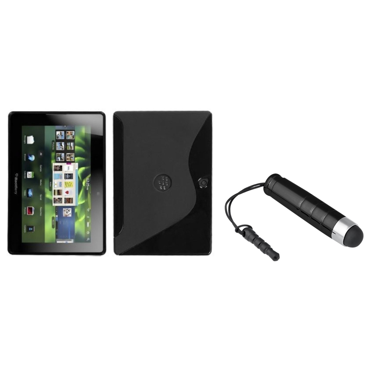 Insten Black S Shape Candy Skin Cover Case+Blk Mini Stylus For Rim Blackberry Playbook