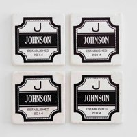 Personalized Family Coasters, Grey