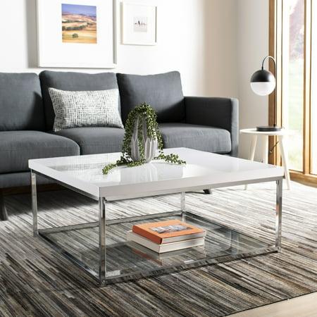 Safavieh Malone Modern Glam Chrome High Gloss Coffee (Best Table With Chromes)