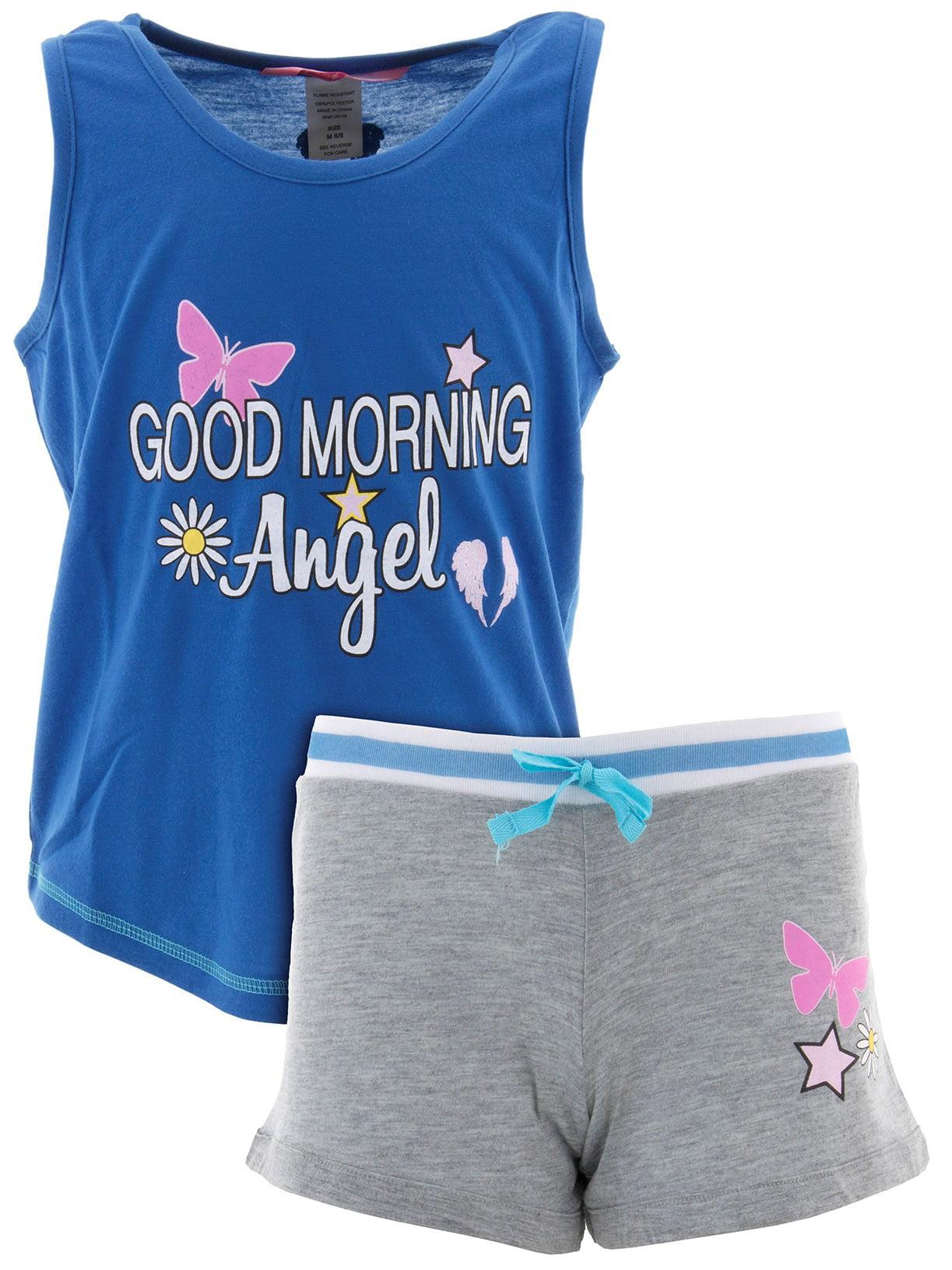 Katnap Kids Big Girls' Good Morning Angel Blue Short Pajamas
