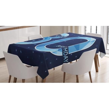 80th Birthday Decorations Tablecloth, Diamond Age 80 Happy Birthday Party Theme with Stars, Rectangular Table Cover for Dining Room Kitchen, 60 X 84 Inches, Navy Blue and Sky Blue, by (Birthday Stars Table Cover)