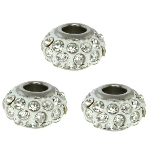Set of Three 14mm Round White Pave Crystal Ball Fits with Beads and Charms