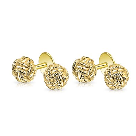 Solid Double Knot Braided Twist Stud Sets For Tuxedo Shirts For Men 14K Gold Plated 925 Sterling Silver Fixed Backing Tuxedo Shirt Studs