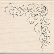 Inkadinkado Wood Stamp, Large Corner Flourish
