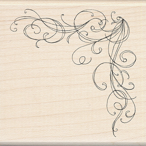 "Inkadinkado Mounted Rubber Stamp, 3"" x 3"", Large Corner Flourish"