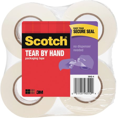 Scotch, MMM38424, Tear-By-Hand Packaging Tape, 4 / Pack, Clear