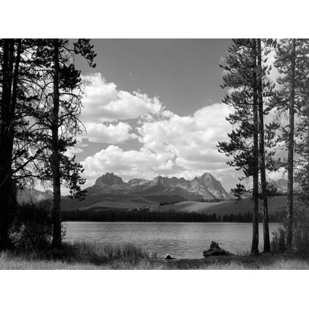 1960s Little Red Fish Lake in Idaho with Saw Tooth Mountains in Background Print Wall Art