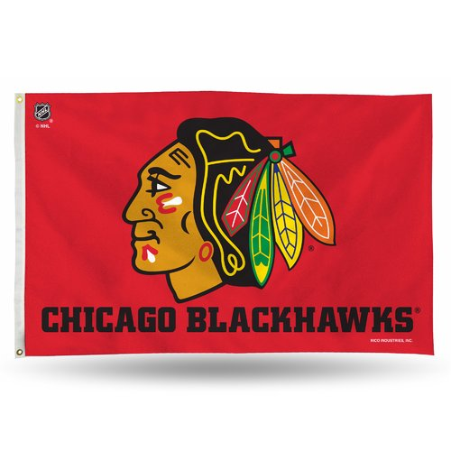 Rico Industries NHL 3' x 5' Banner Flag, Chicago Blackhawks