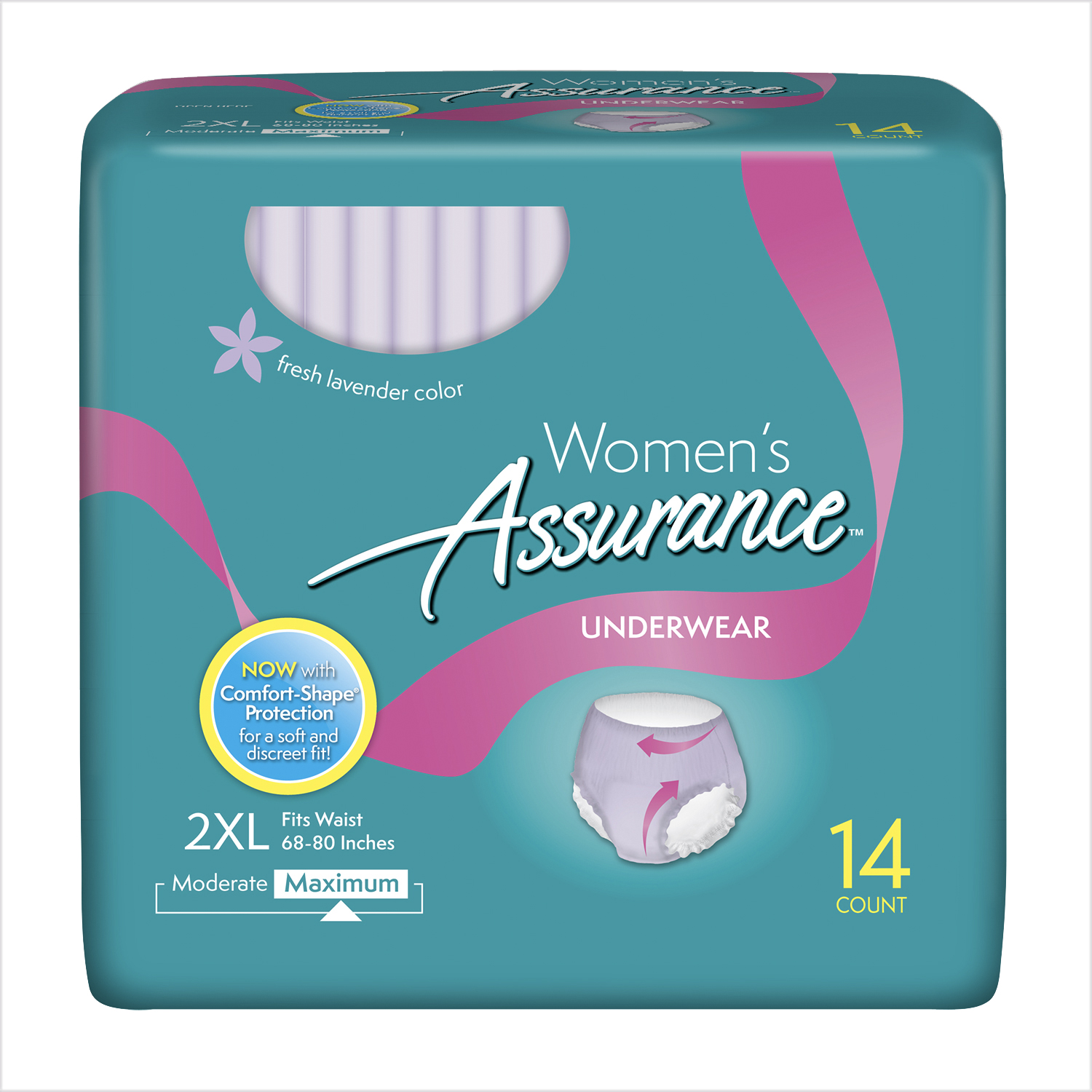 Assurance Incontinence Underwear for Women, Maximum, 2XL, 14 Ct