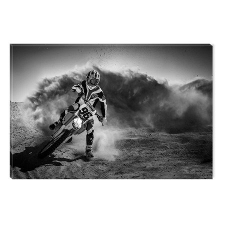 Startonight Canvas Wall Art Black and White Abstract Motocross Rider, Dual View Surprise Artwork Modern Framed Ready to Hang Wall Art 100% Original Art Painting 23.62 X 35.43 inch