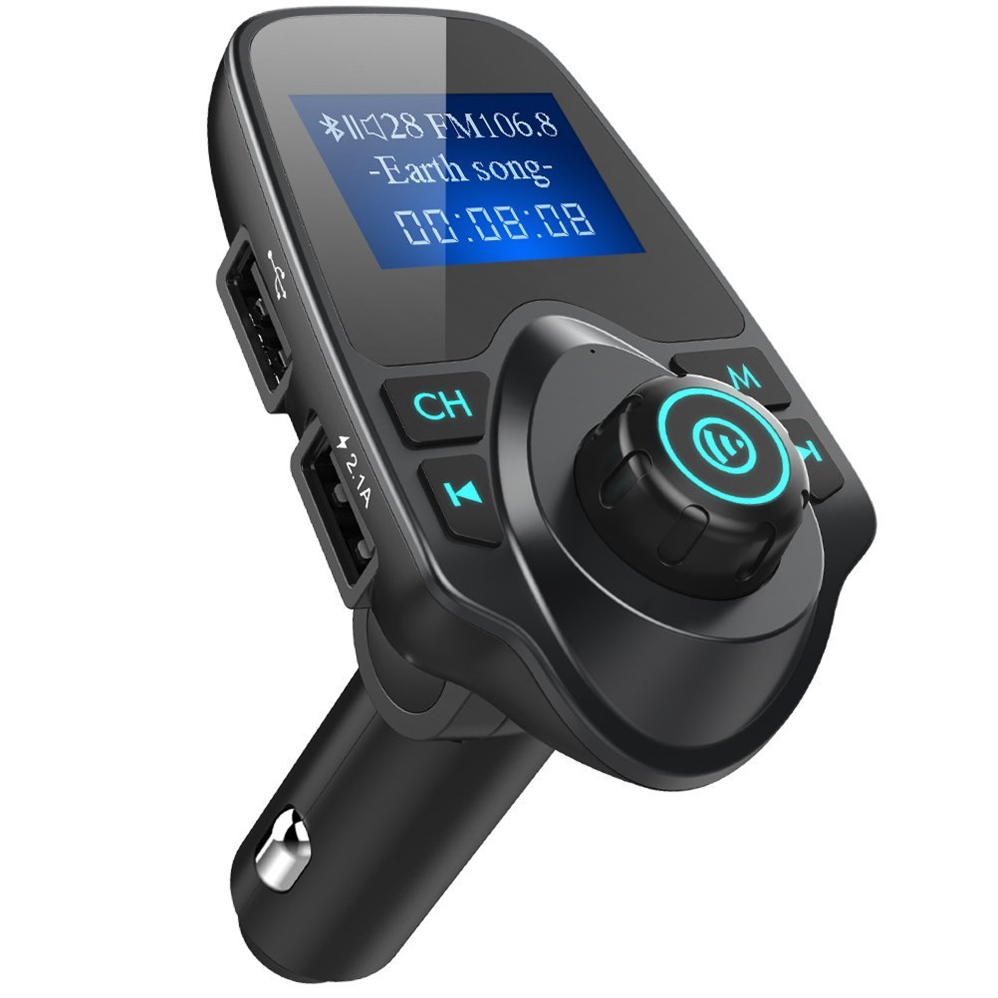Car FM Transmitter, UrbanX T11 Wireless In-Car Bluetooth Receiver Stereo Radio Adapter Car Kit Hands Free Calling with Dual USB Car Charger Ports for Smartphones, Tablets, TF Card, MP3 and More