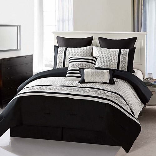 Victoria Classics Montero Black and White 8-Piece Bedding Comforter Set