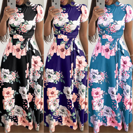 Summer Maxi Dresses for Women, Short Sleeve Vintage Beach Sundresses Floral Tunic Boho Wedding Party Dresses (Wedding Dress Boho)
