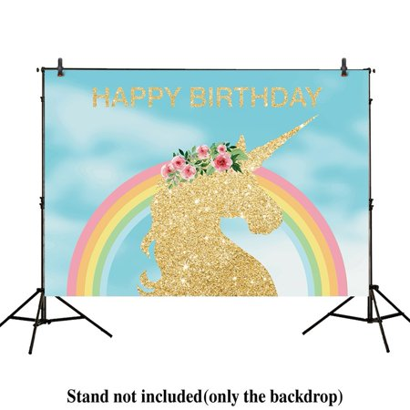GreenDecor Polyster 7x5ft photography backdrops Blue Sky cloud colorful unicorn Birthday party backdrop Rainbow banner gold Glitter photo studio booth background newborn baby shower photocall (Birthday Photo Booth Backdrop)