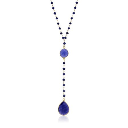 79 Carat Blue Sapphire Pear Shape Y Bar Strand Necklace In 14K Yellow Gold Over Sterling Silver 36