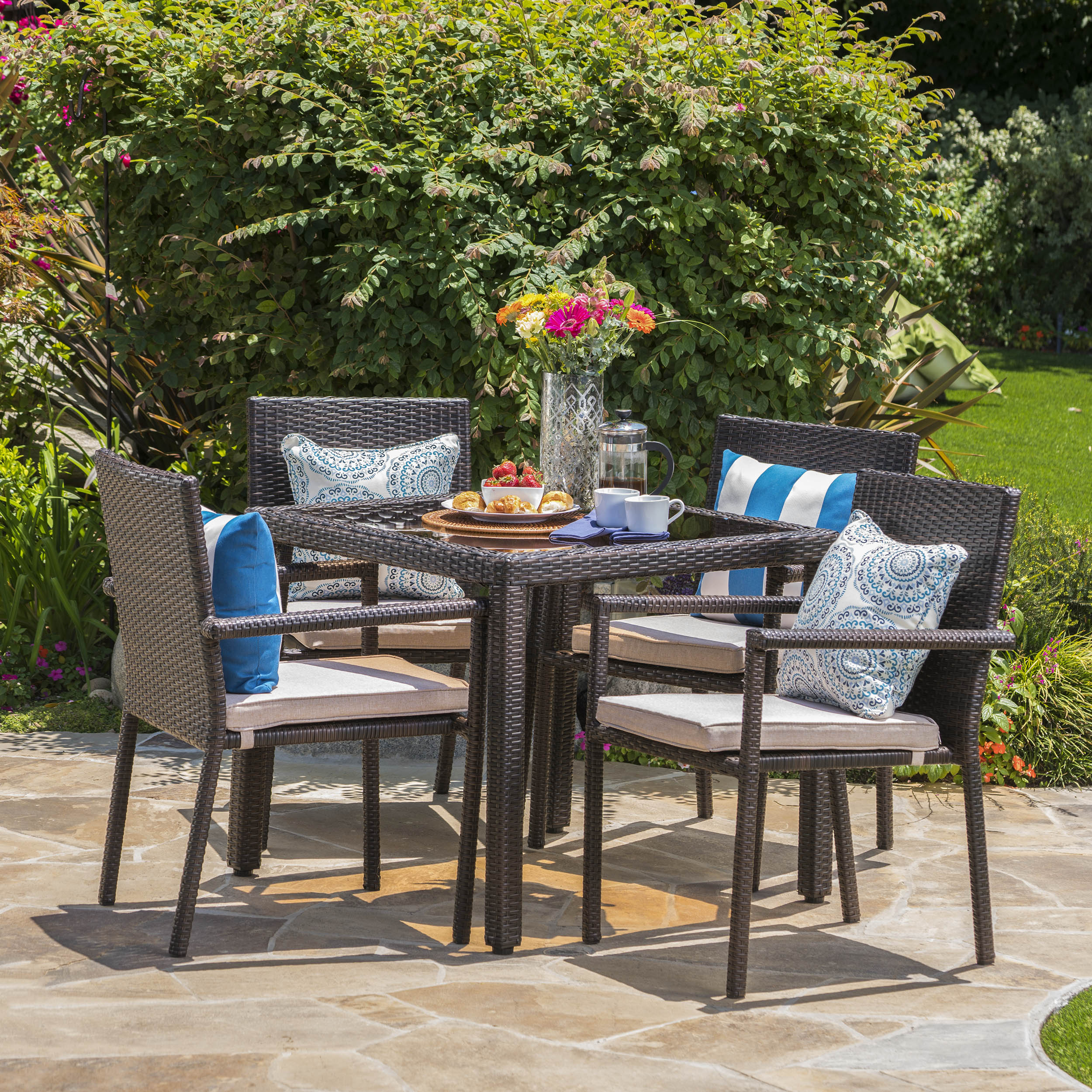 Porto Outdoor 5 Piece Square Wicker Dining Set with Cushions, Multibrown, Textured Beige