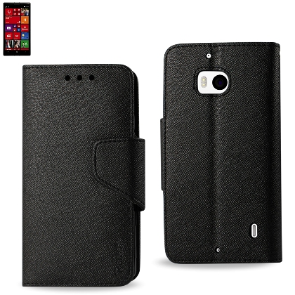 Wallet Case 3 In 1 For Nokia Lumia 929/ Lumia Icon Black With Interior Leather-Like Material And Polymer Cover