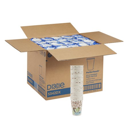 Dixie® PerfecTouch® (5342DX) Insulated 12 oz. Paper Hot Cup by Georgia-Pacific, Coffee Haze, 20 Sleeves of 25 Cups (500 Cups Total) (12 Oz Clear Plastic Cups With Lids)