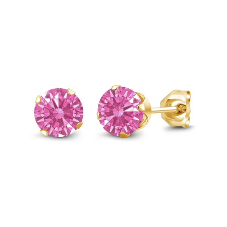 18K Yellow Gold Plated Silver Stud Earring Set with Pink Zirconia from Swarovski