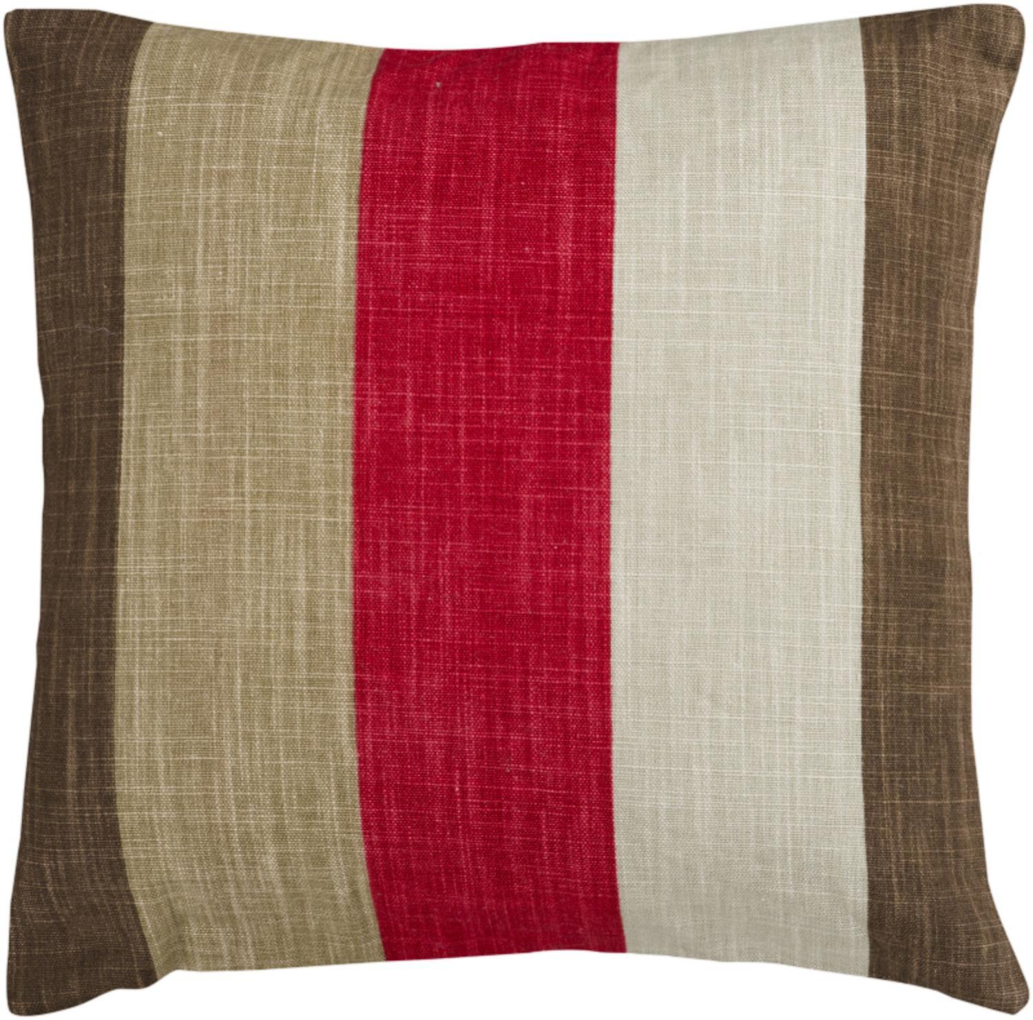 "18"" Red and Brown Thick Striped Decorative Down Throw Pillow"