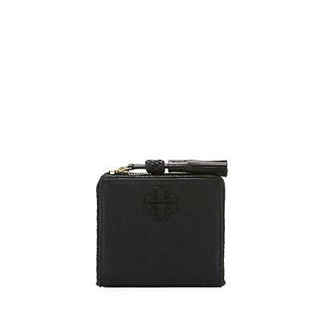BRAND NEW TORY BURCH (52722) TAYLOR BLACK PEBBLED LEATHER MINI BIFOLD (Tory Burch Robinson Mini Pebbled Leather Wallet Crossbody)