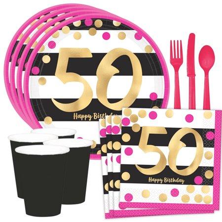 Metallic Pink & Gold 50th Birthday Dessert Standard Tableware Kit (Serves 8)