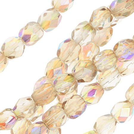 Czech Fire Polished Glass, Faceted Round Beads 4mm, 40 Pieces, Crystal Lemon -