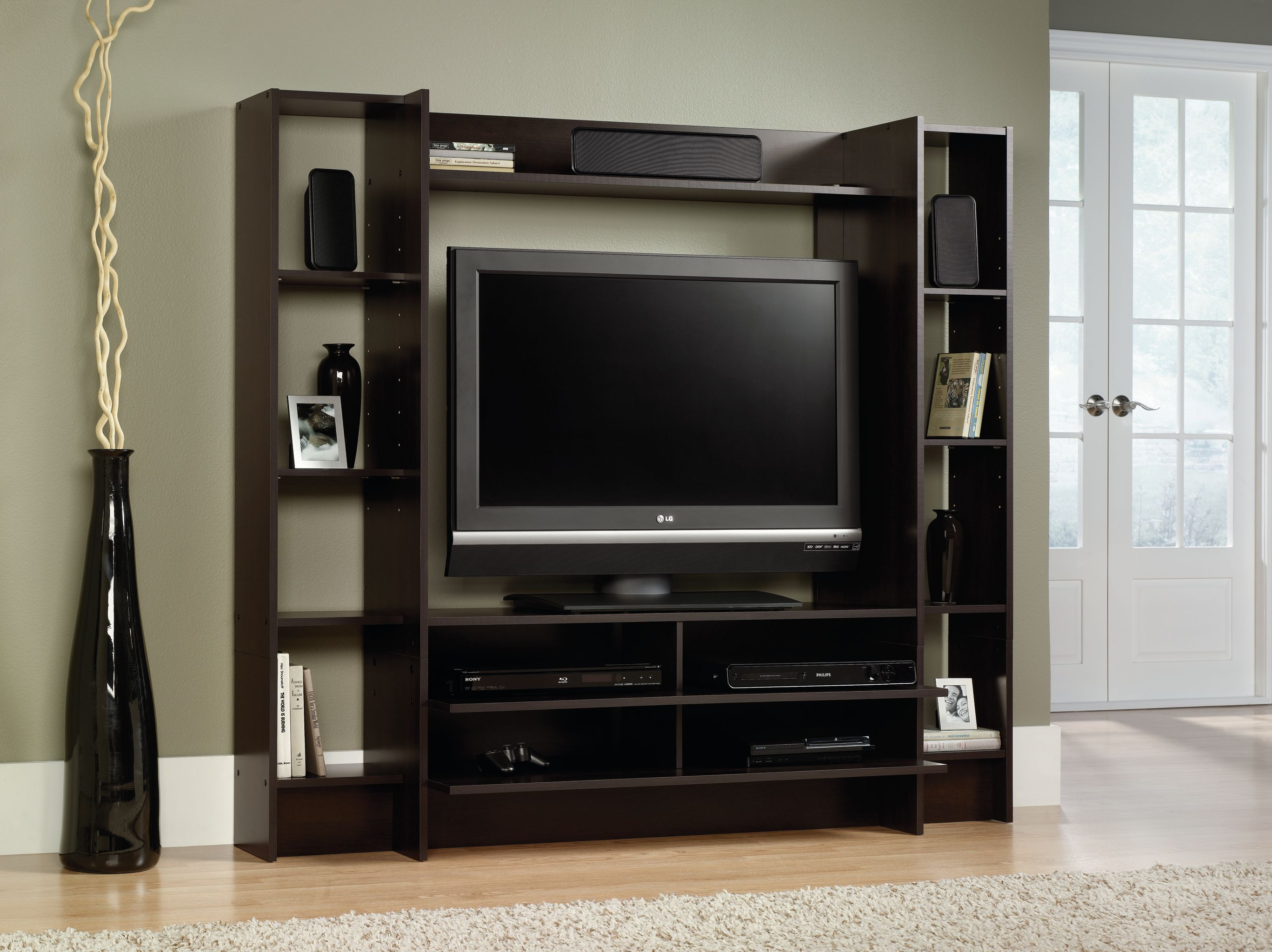 Tv stand console media home entertainment center wood storage cabinet furniture